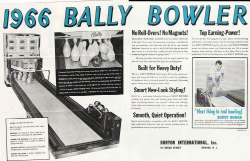 small resolution of  1969 bally bowler these three games used a unique swivel action reciprocating pins which allowed the pins to move in any direction not just