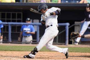 Thairo Estrada singles in the third inning (Robert M Pimpsner)