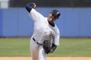 Jose Mesa Jr. with the Staten Island Yankees in 2015. (Robert M Pimpsner)