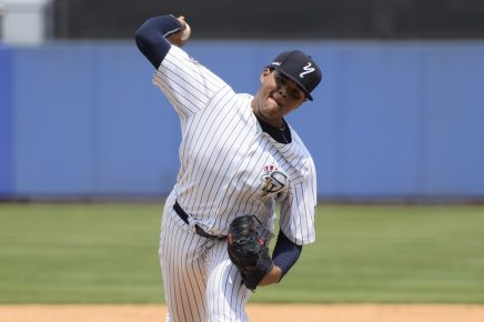 Jose Mesa Jr. with the Staten Island Yankees in 2015. (Robert M Pimpsner)