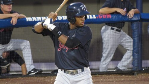 Abiatal Avelino at the plate for the Tampa Yankees in 2015 (Bryan Green)