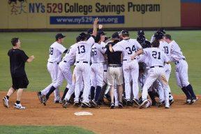 The SI Yankees jump on Junior Valera after his walk off hit (Robert M Pimpsner)