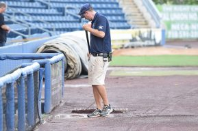 The SI Yanks grounds crew working to prepare the field before the game (Robert M Pimpsner)