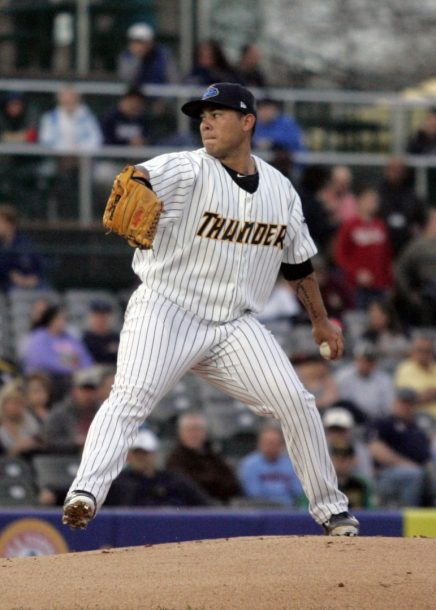 Yankees prospect Miguel Sulbaran pitching for the Trenton Thunder in 2015 (Jessica Kovalcin)