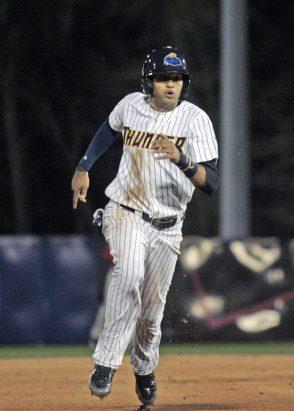 Yankees prospect Mason Williams running the bases during the 2015 Trenton Thunder home opener. (Jessica Kovalcin)