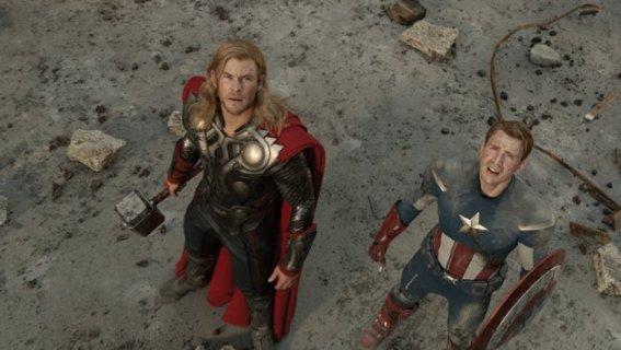 The Avengers, Chris Hemsworth as Thor and Chris Evans as Captain America