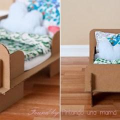 DIY Cómo hacer una camita de cartón para jugar con las muñecas
