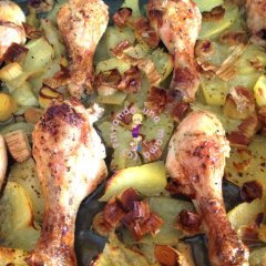 Pollo al horno con Pera y Uvas