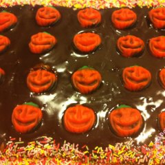Tarta de Galletas de Halloween con Calabaza y Chocolate
