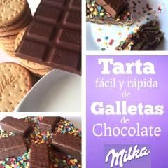 Tarta Fácil y Rápida de Galletas de Chocolate Milka