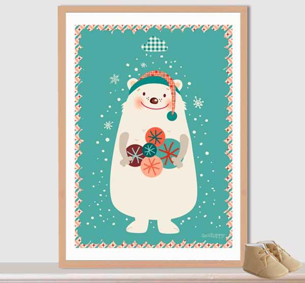cuadro_infantil_oso-blanco-de-navidad