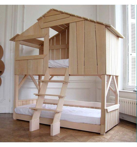 Casas cama para habitaciones infantiles pintando una - Habitaciones infantiles 2 camas ...