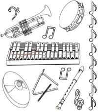Instrumentos Para Colorear E Imprimir Dibujo Notas