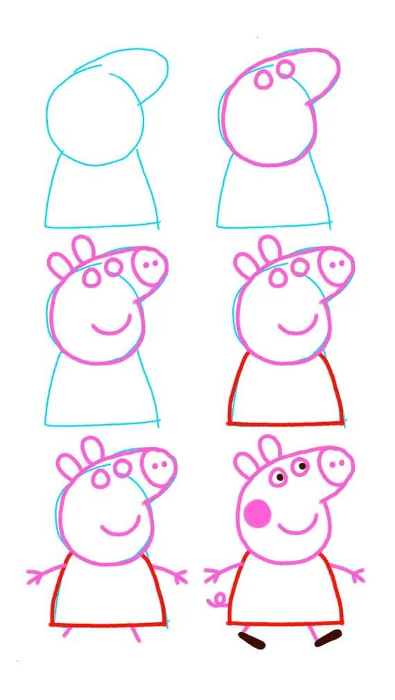 Como dibujar Peppa Pig pintar y colorear