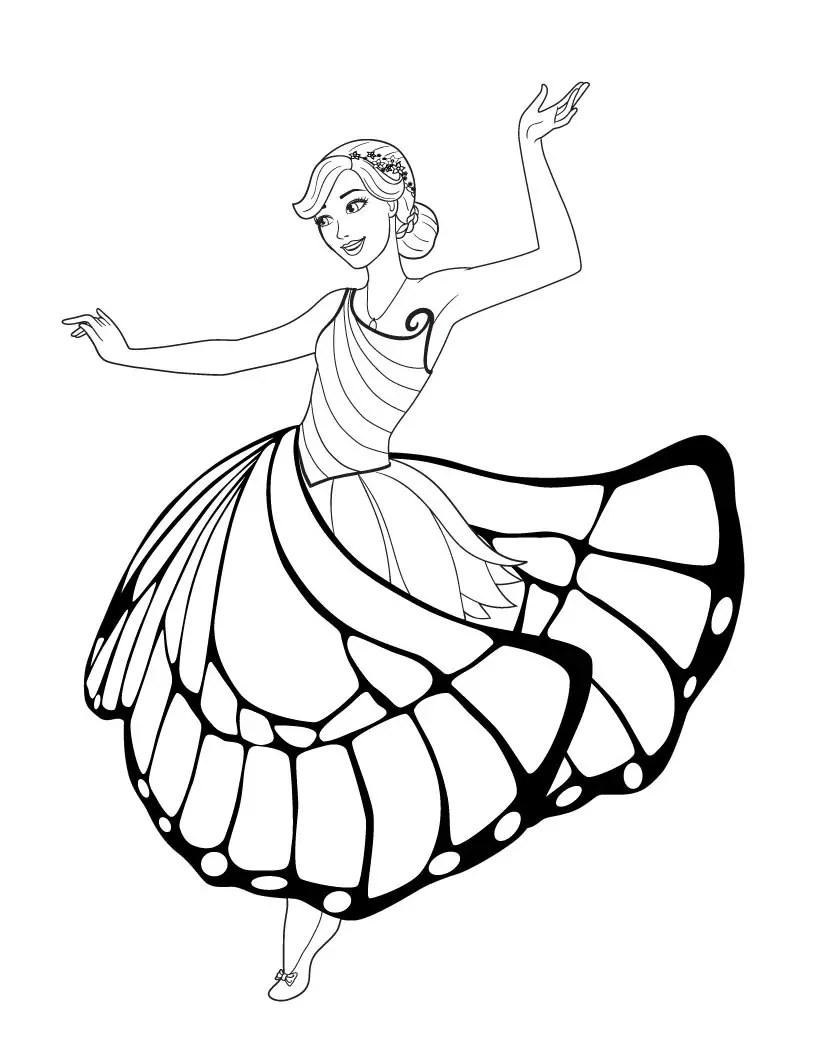 Barbie Mariposa para colorear, pintar e imprimir