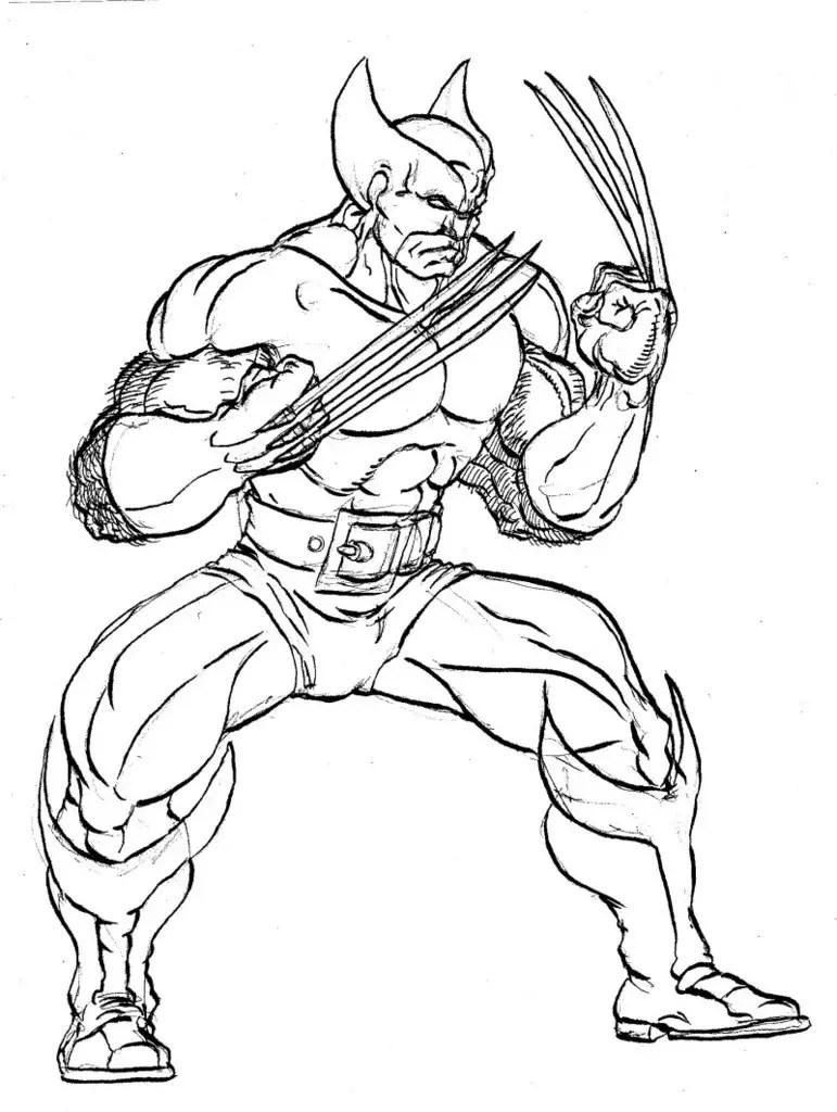 Wolverine para colorear, pintar e imprimir
