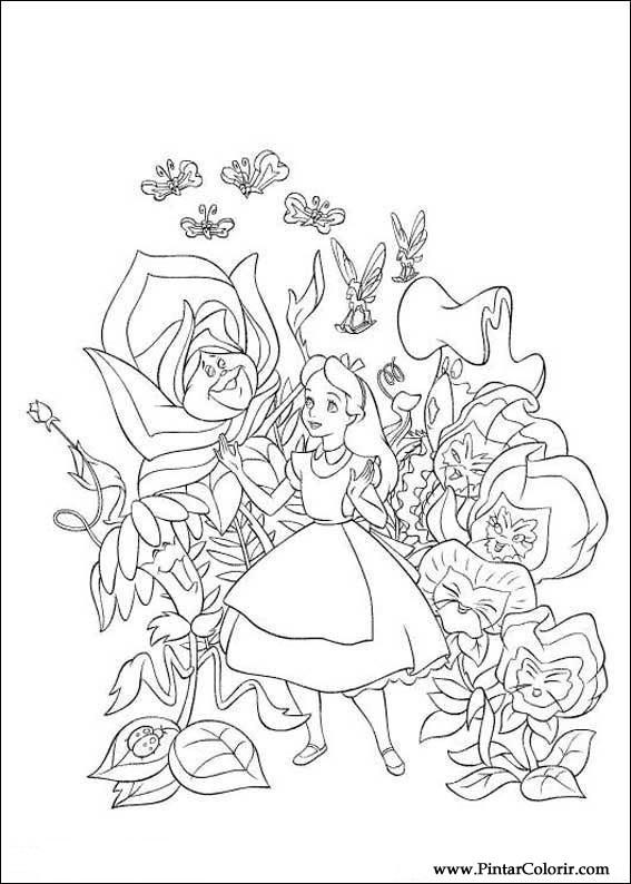 不思議の国のアリスをペイント&カラー図面 - プリントデザイン006