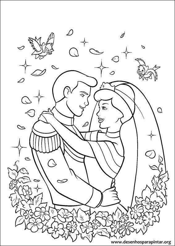Cinderela desenhos para imprimir pintar e colorir da