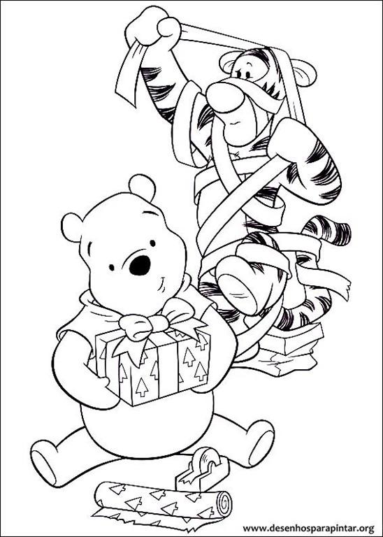 Desenhos do Ursinho Pooh de Natal para imprimir colorir e