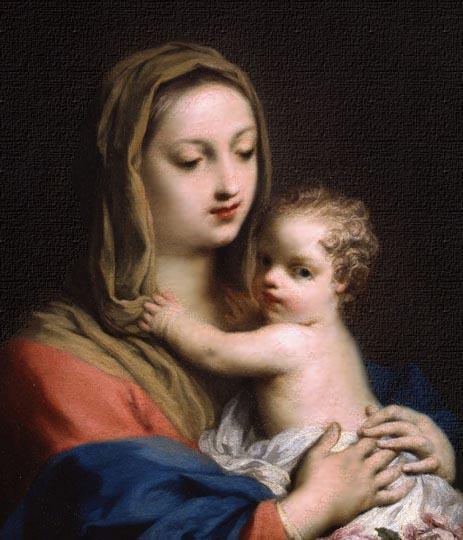 Virgen pintada en óleo estilo barroco evolucionando al rococó por Amigoni.