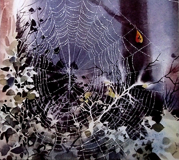Tcnica del rascado en acuarela  Tela de araa en el