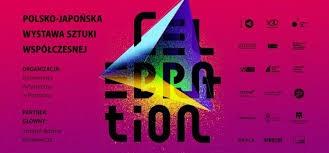 Logo wystawy czarny napis Celebration na różowym tle, z lewej strony znajduje się napis Polsko-Japońska wystawa sztuki współczesnej