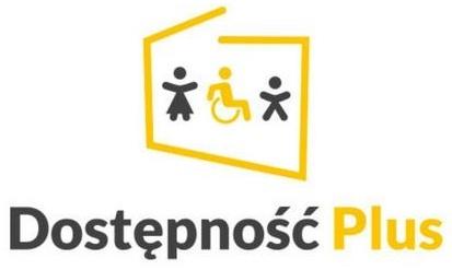 Napis dostępność plus na tle trzech ludzików w żółtej ramce. Jeden z nich siedzi na wózku inwalidzkim