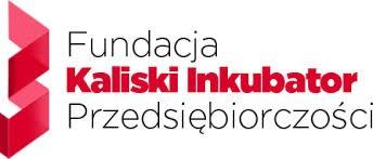 """Napis Fundacja Kaliski Inkubator Przedsiębiorczości z lewej strony czerwona grafika przypominająca literę """"W"""" obrócone na bok"""