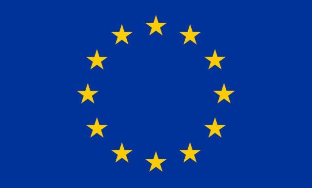 Flaga Unii Europejskiej 12 złotych gwiazdek na niebieskim tle