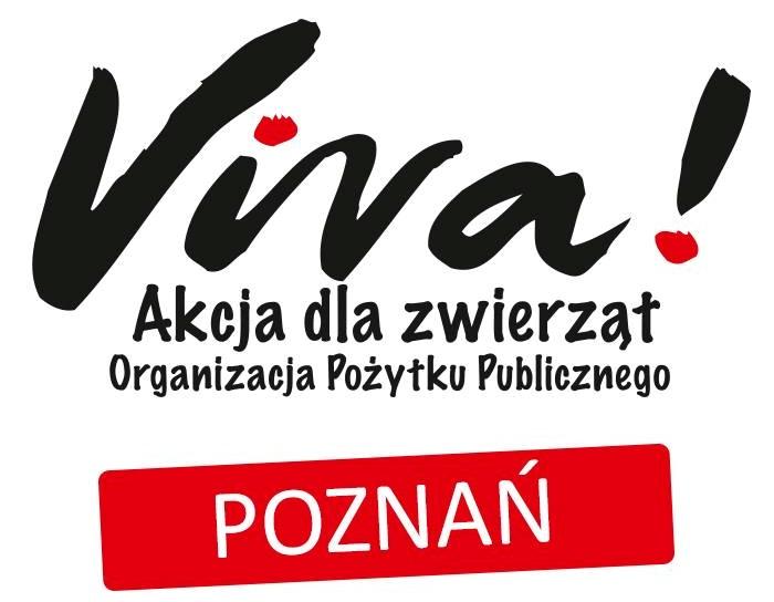 Czarny napis na białym tle Viva! Akcja dla zwierząt Organizacja pożytku publicznego poniżej biały napis Poznań na czerwonym tle