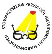 Logo SPNIS: Stowarzyszenia Przyjaciół Niewidomych i Słabowidzących. Okulary na które pada żółty snop światła z reflektora przypominającego serce