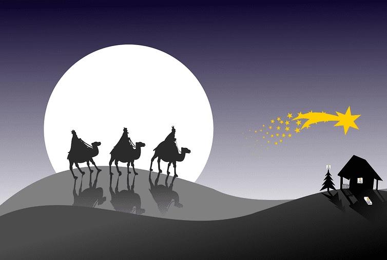 Rysunek, orszak trzech króli na wielbłądach zmierzający do Betlejem
