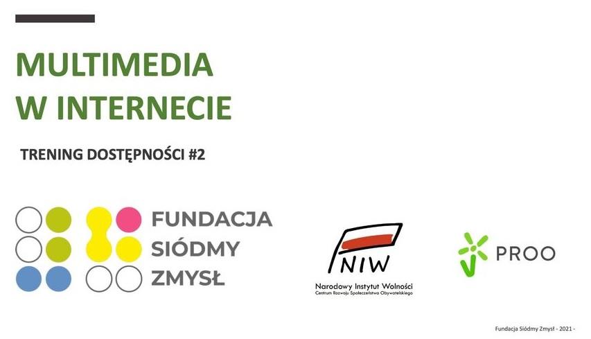 Plakat informujący o webinarze Multimedia w Internecie