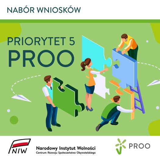 Plakat informujący o naborze wniosków do konkursu w ramach priorytetu piątego Programu Rozwoju Instytucji Obywatelskich