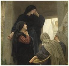 Obraz przedstawiający trzy kobiety przy grobie Chrystusa. Przed nimi stoi Anioł