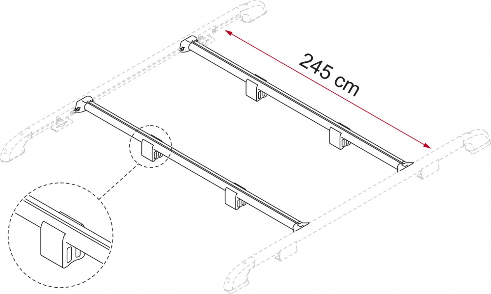 Fiamma Fixing Bar Rails and Cargo Plate
