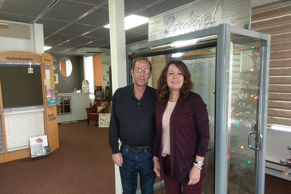 Pioneer Glass Business Owners Dave and Nancy with Cardinal Shower Enclosure Display