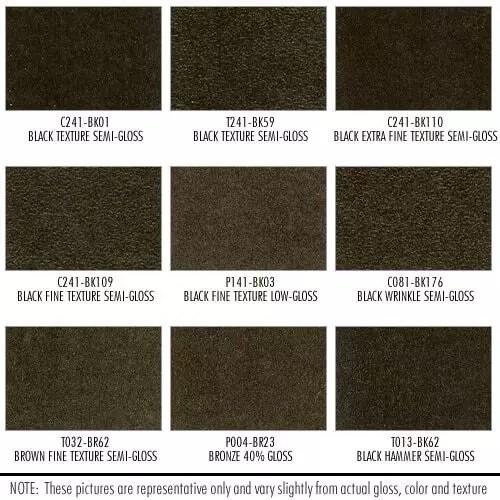 Shower Enclosure Powder Coating Finish Options: Black, Brown Texture, various gloss