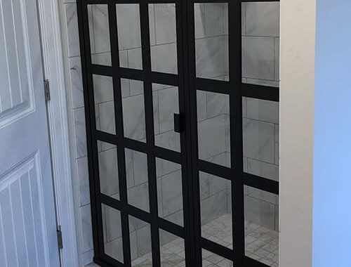 Gridded Shower Glass Metal Gridwork