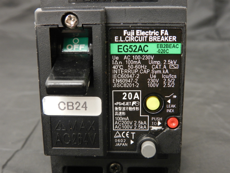 EG52AC20 FUJI CIRCUIT BREAKER 20A 2P 100240V