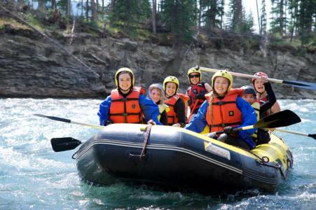 Pic Alberta Camp Cherith Girls in a Raft on the Water