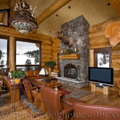 Living Room Decorating Designs With Wood Stove Loveland, Co - Log Home Picture Gallery | Colorado, Usa