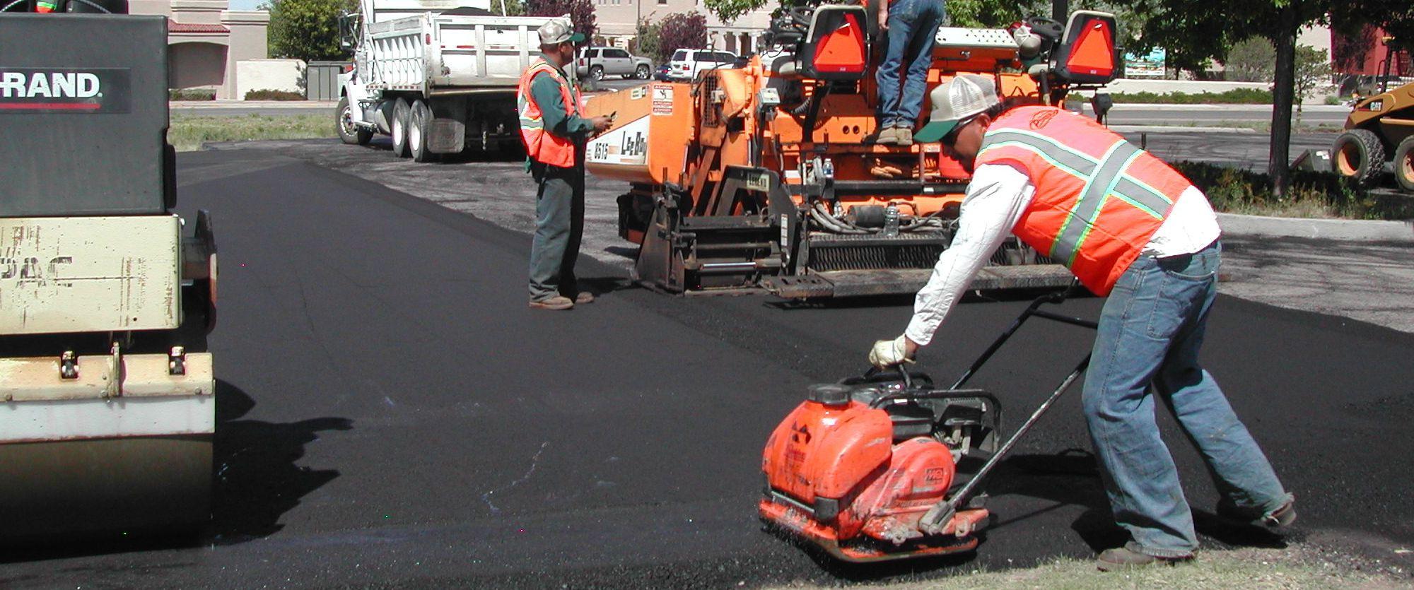 Road, parking lot, or driveway asphalt overlay.