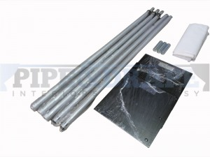 6m x 3m pipe and drape kit includes 3 x vertical uprights, 3 x base plates, 2 x crossbars and a carry bag