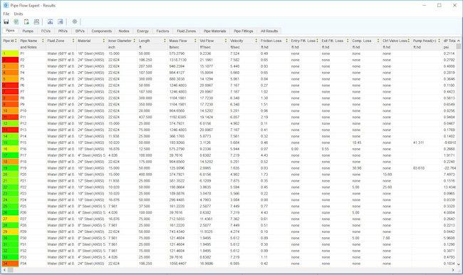 Pipe Flow Expert Software Results Sheet Screenshots
