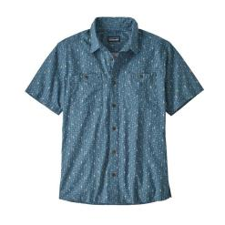 Patagonia Back Step Shirt Swamp Stamp Multi: Pigeon Blue SMBP