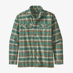 Patagonia Long-Sleeved Fjord Flannel Shirt Independence: Eelgrass Green IEGR