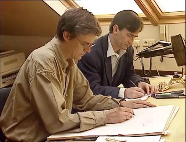 Francois Schuiten and Benoit Peeters working together.