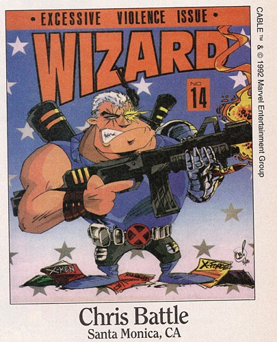 Chris Battle draws Cable in Wizard #14, September 1992
