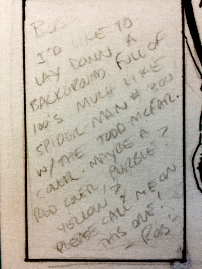 Rob Liefeld directions to Bob Harras on New Mutants #100 cover design